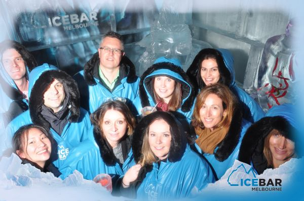 team in Ice Bar